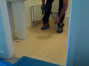 peter preparing the Floor Area for tiling